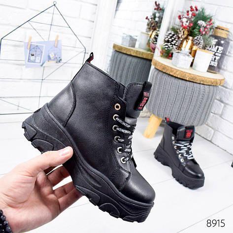 """Ботинки женские зимние, черного цвета из эко кожи """"8915"""". Черевики жіночі. Ботинки теплые, фото 2"""