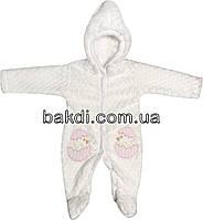 Детский тёплый человечек рост 56 (0-2 мес.) махра белый на девочку (слип) с капюшоном для новорожденных Р-726