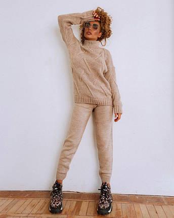 Крутий теплий жіночий в'язаний костюм штани і кофта шерсть OG, фото 2
