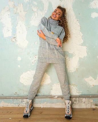 Женский ультра модный вязаный очень теплый костюм в квадрат, фото 2