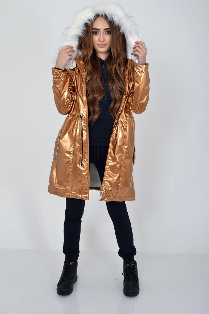 Демисезонная женская куртка из латекса с меховой подкладкой 103R061 размер 36