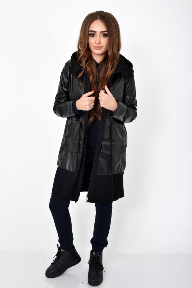 Черная женская куртка из латекса с тонкой подкладкой 103R059 размер 38