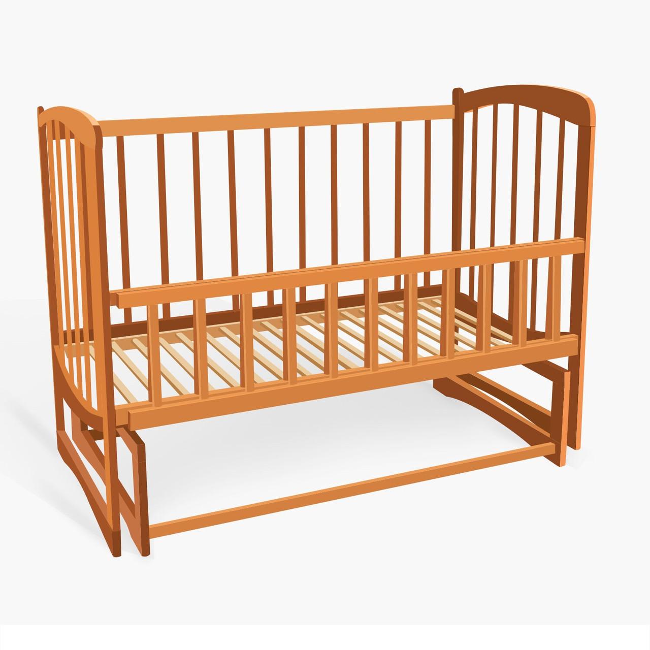 Кроватка деревянная Комета из ольхи - цвет светло-коричневый