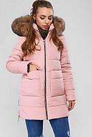 Женская зимняя розовая куртка с капюшоном, фото 1