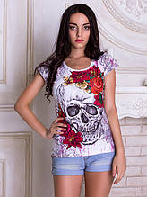 Женская футболка Skull flowers