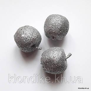 Яблочко в глиттере, пенопласт, 3.5 см, Цвет: Серебро