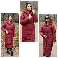 Пальто курка кокон Oversize зимова, артикул 500, колір матовий бордовий, фото 1