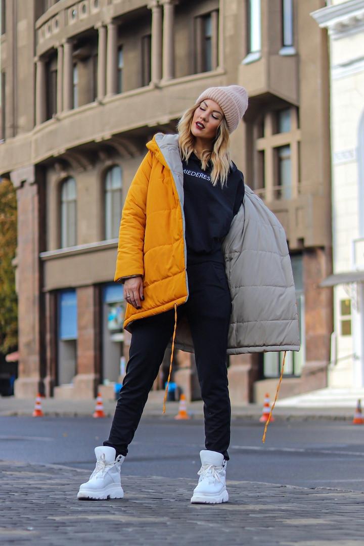 Женская двусторонняя куртка с капюшоном холодная осень