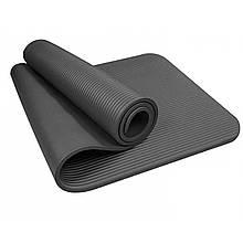 Килимок-Мат для йоги та фітнесу зі спіненого каучуку OSPORT Premium NBR 1,5 см з ручкою (MS 1983)