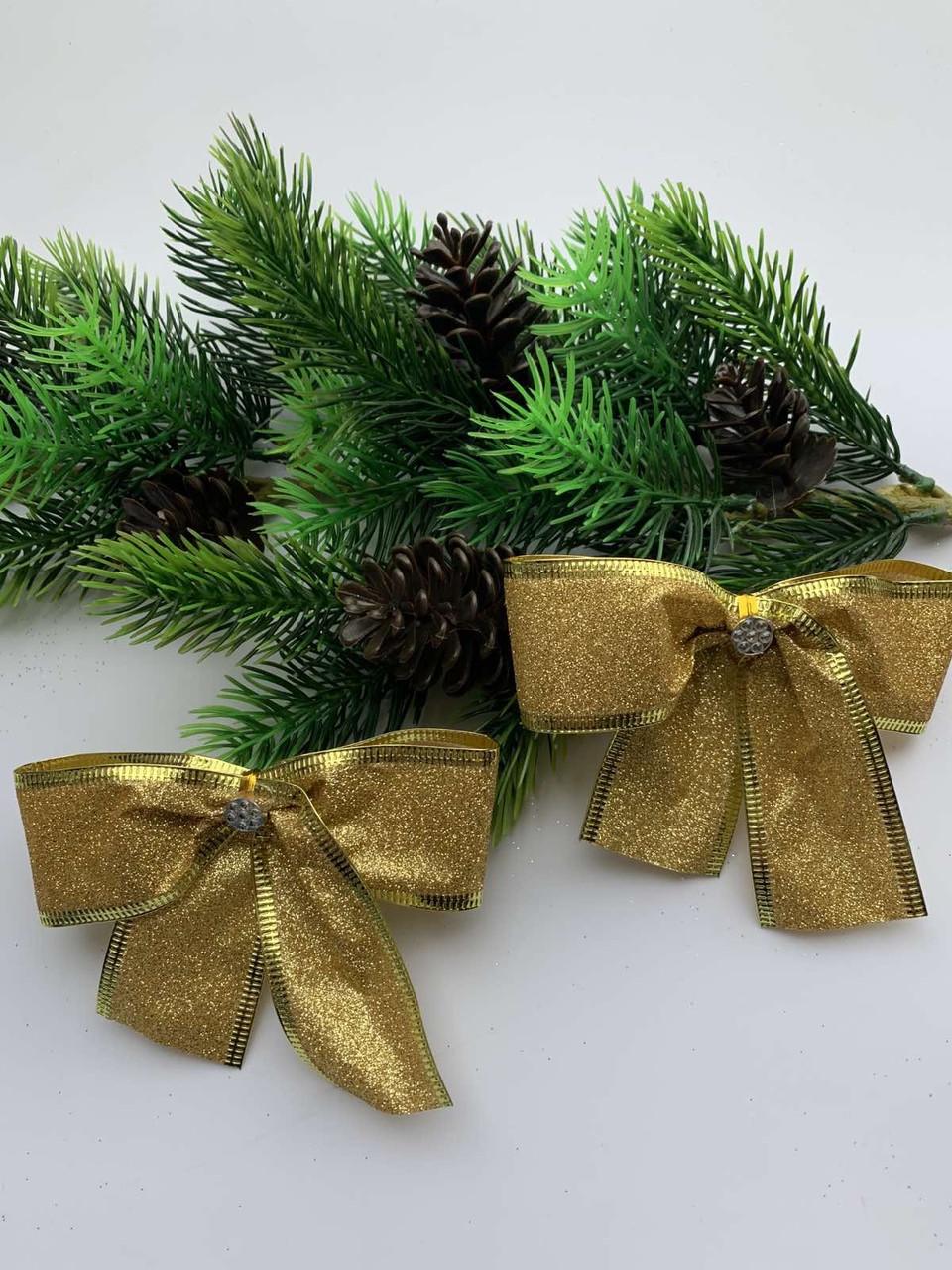 Новогодний декор.Бантик для новогоднего декора золото(10см)