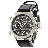AMST C Silver-Black Black Wristband