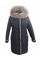 Теплая зимняя куртка  больших размеров с натуральным мехом