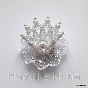 """Заколка """"Корона"""" с жемчужными бусинами, диаметр: 5 см, Цвет: Белый"""
