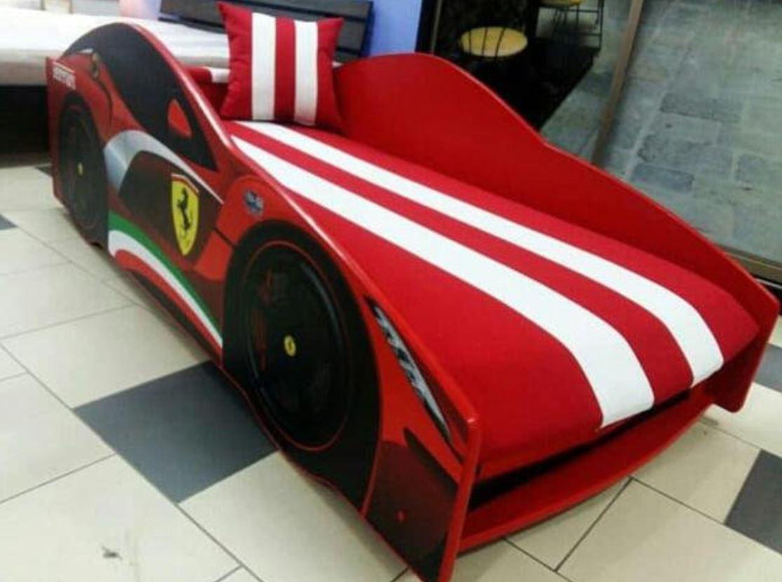 Кровать детская машина серии Elit с матрасом 80х170 см Е-2 Ferrari красный