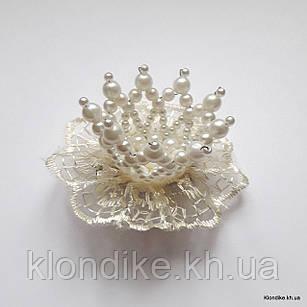 """Заколка """"Корона"""" с жемчужными бусинами, диаметр: 5 см, Цвет: Шампань"""