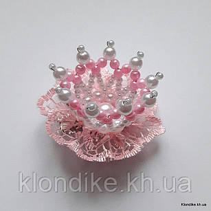 """Заколка """"Корона"""" с жемчужными бусинами, диаметр: 5 см, Цвет: Розовый"""