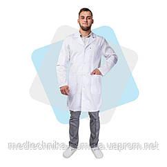 Медицинский халат мужской коттоновый Лондон белый р. 60