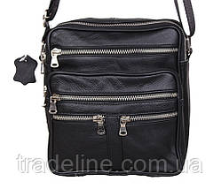 Мужская кожаная сумка Dovhani 60-29BLACK325 Черная 22 х 19 х 7см, фото 2