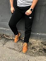 Зимние мужские спортивные штаны Адидас трехнить на флисе черные (мультибренд)