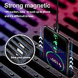 USLION Магнитный кабель USB Type-C быстрая зарядка 3А для Android Samsung Xiaomi для зарядки Цвет синий, фото 4