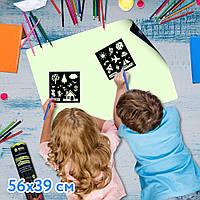Мягкий коврик в тубусе для рисования в темноте «Рисуй светом» 56х39см