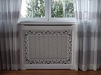 Декоративный деревянный экран (короб) для батареи отопления решетка резной узор №55, фото 1