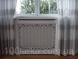 Декоративний дерев'яний екран (короб) для батареї опалення решітка різьблений візерунок №55