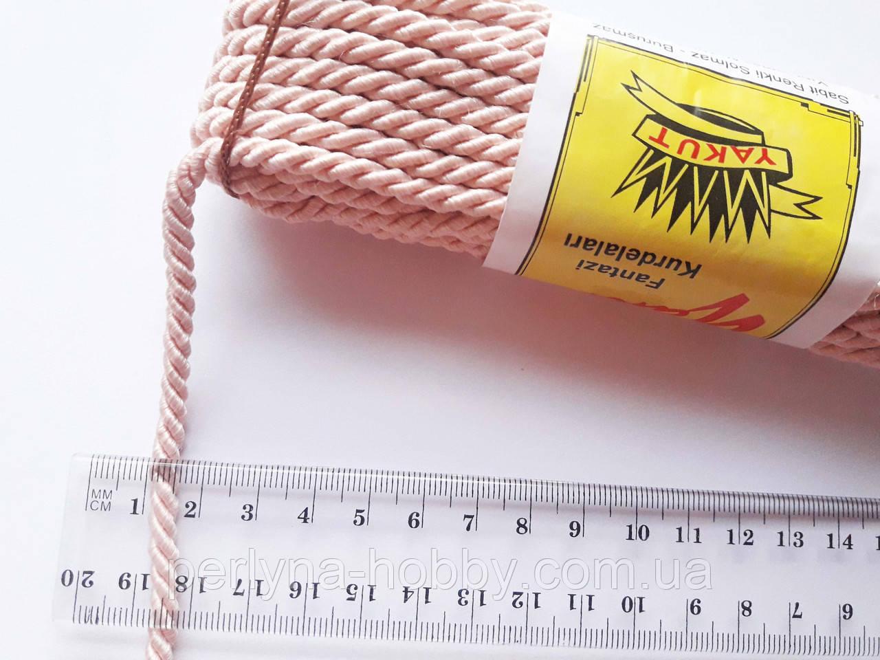 Шнур текстильный декоративный, рожевий світлий (пудра). Діаметр 5 мм.  Моток 9.5-10 метрів. Туреччина.