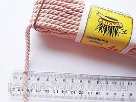 Шнур текстильний декоративний, рожевий світлий (пудра). Діаметр 5 мм.  Моток 9.5-10 метрів. Туреччина.