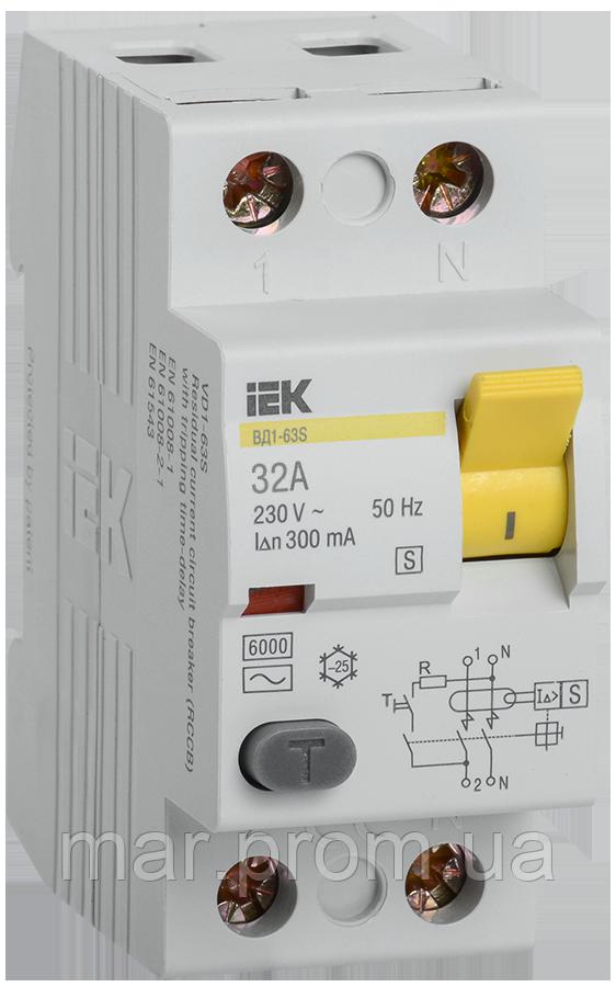 Выключатель дифференциальный (УЗО) ВД1-63S 2Р 32А 300мА