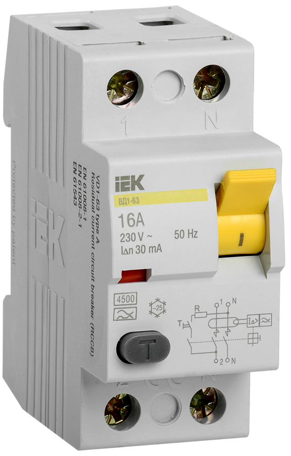 Выключатель дифференциальный (УЗО) ВД1-63 2Р 16А 30мА тип А