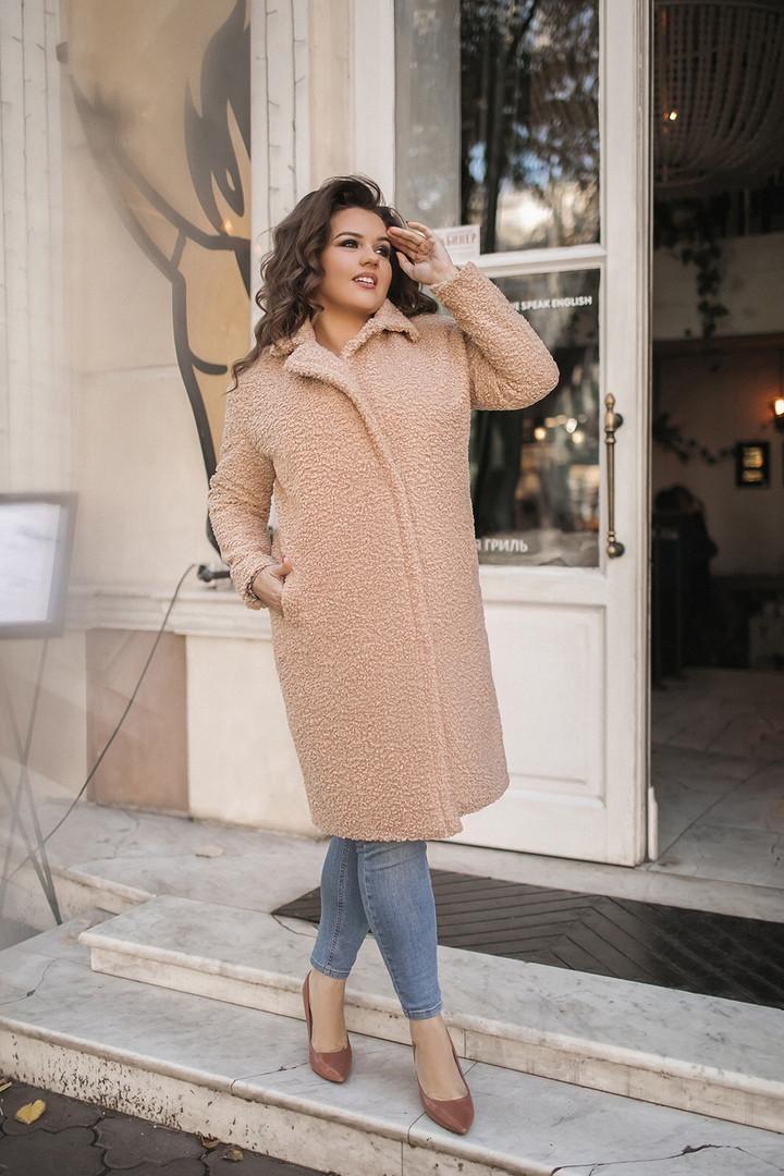 Пальто(шуба) букле женское еврозима-холодная осень большие размеры