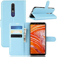 Чехол-книжка Litchie Wallet для Nokia 3.1 Plus (X3) Голубой
