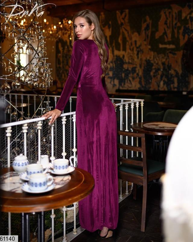 Бархатное вечернее платье с запахом, фото 2