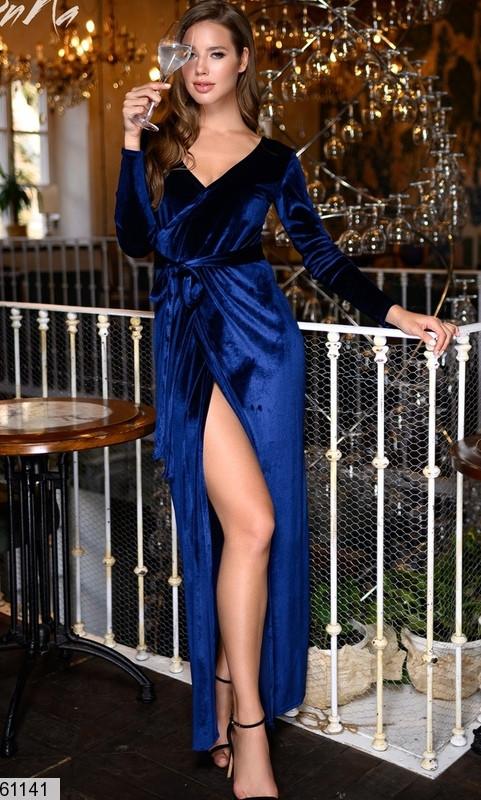 Велюровое вечернее платье с запахом
