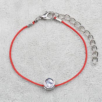 Браслет женский JB Красная Нить c камнем белого цвета - 1075185716