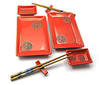 """Сервиз для суши """"Красный с иероглифами"""" (2 персоны)(28х28,3х3 см)"""