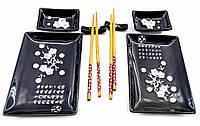 """Сервиз для суши """"Черный с белыми цветами сакуры"""" (2 персоны)(28х28,3х3,5 см)"""