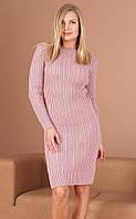 Теплое вязаное платье розового цвета. Модель 23432