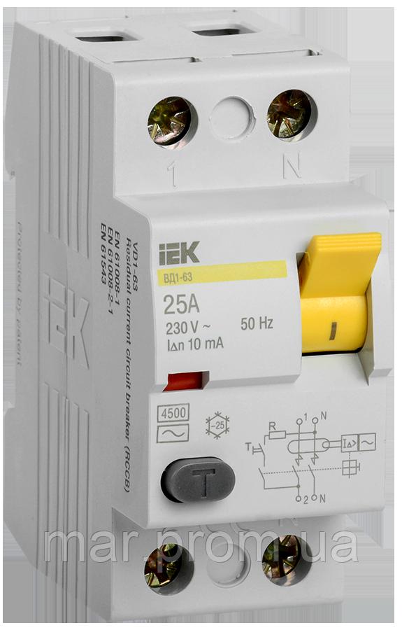 Выключатель дифференциальный (УЗО) ВД1-63 2Р 25А 10мА
