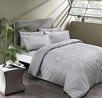 Комплект постельного белья ТАС Bruna Gri сатин де люкс 220-200 см светло серый