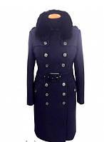 Теплое зимнее женское пальто с меховым воротником от производителя