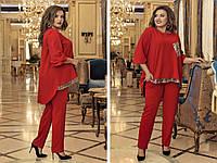 Брючный костюм женский декорирован пайеткой АМ/-1437 - Красный, фото 1