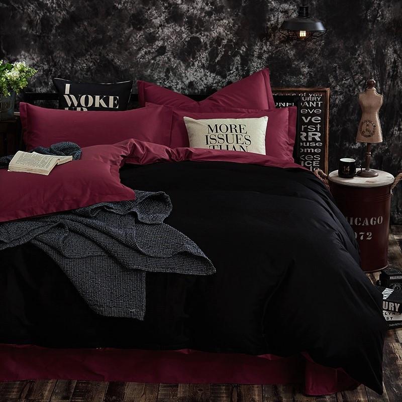 Постельное белье поплин DeLux Микс двусторонний Бургунд+ Черный ТМ Moonlight Евро