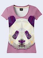 Женская футболка Панда из кристаллов
