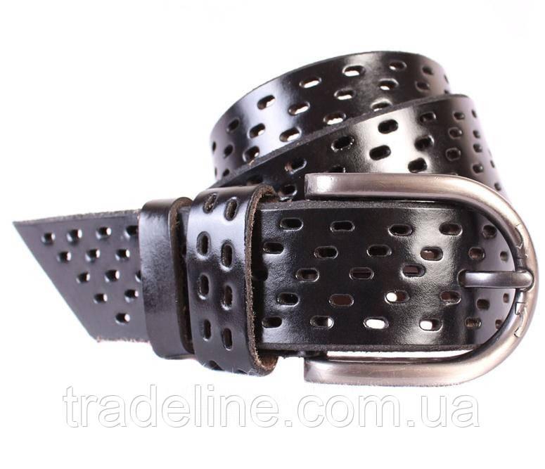 Мужской кожаный ремень Dovhani 301121476 115 см Черный