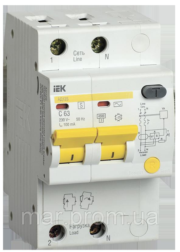 Дифференциальный автоматический выключатель АД12S 2Р 25А 100мА