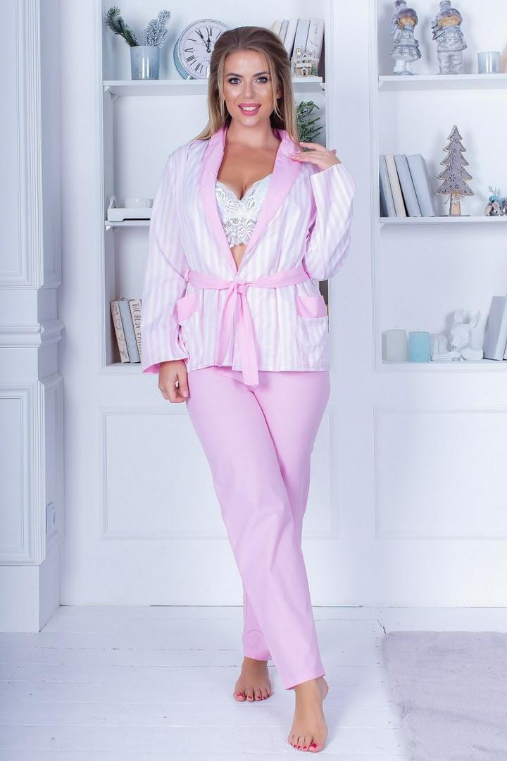 Пижама тройка пиджак , брюки и кружевной топ