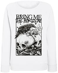 "Женский свитшот Bring Me The Horizon ""Skulls and Raven"" (белый)"