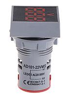 Вольтметр AC 22мм 20-500В - красный, фото 1